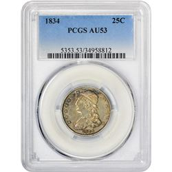 Choice AU 1834 Quarter 1834 Quarter B-1. Rarity-1. AU-53 PCGS.