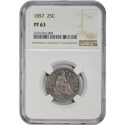 Choice Proof 1857 Quarter 1857 Quarter Proof-63 NGC.