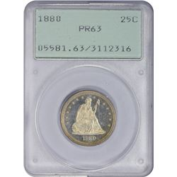 Choice Proof 1880 Quarter 1880 Quarter Proof-63 PCGS. OGH.