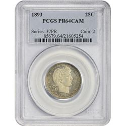 Choice CAM Proof 1893 Quarter 1893 Quarter Proof-64 CAM PCGS.