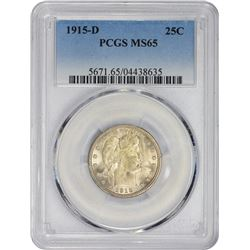Gem Uncirculated 1915-D Quarter 1915-D Quarter MS-65 PCGS.