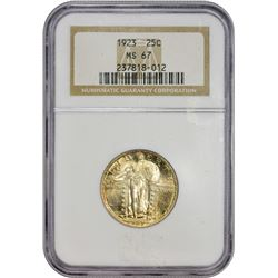 Superlative Gem 1923 Standing Liberty 25¢ Tied for Finest Certified at NGC 1923 Quarter MS-67 NGC.