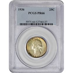 Toned Gem Proof 1936 Quarter 1936 Quarter Proof-66 PCGS.