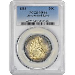 Choice Mint State 1853 Arrows & Rays 50¢ 1853 Half Dollar Arrows and Rays. MS-64 PCGS.