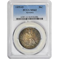 Colorful Uncirculated 1855-O Half Dollar 1855-O Half Dollar Arrows. MS-62 PCGS.
