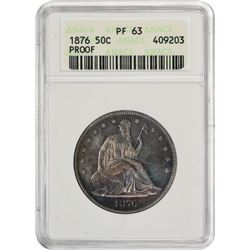 Choice Proof 1876 Half Dollar 1876 Half Dollar Proof-63 ANACS.