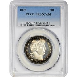 Choice Cameo Proof 1893 Barber 50¢ 1893 Half Dollar Proof-63 CAM PCGS.