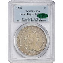 Choice VF 1798 Small Eagle $1 1798 Dollar Small Eagle. B-1, BB-82. 13 Stars Obverse, Large Letters R