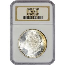 Lustrous Gem 1881-S Morgan $1 1881-S Dollar MS-67 NGC.