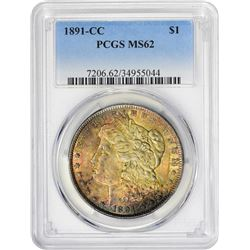 Colorful Uncirculated 1891-CC $1 1891-CC Dollar MS-62 PCGS.