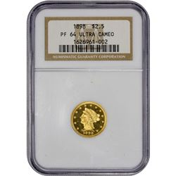 Choice Ultra Cameo Proof 1898 $2.50 1898 Quarter Eagle Proof-64 Ultra Cameo NGC.