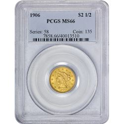 Gem Mint State 1906 $2.50 1906 Quarter Eagle MS-66 PCGS.