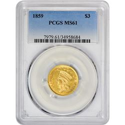 Satiny Uncirculated 1859 $3 1859 Three Dollar Gold MS-61 PCGS.