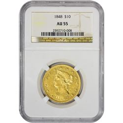 Choice AU 1848 Eagle 1848 Eagle AU-55 NGC.