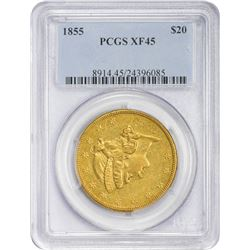 Choice EF 1855 $20 1855 Double Eagle EF-45 PCGS.