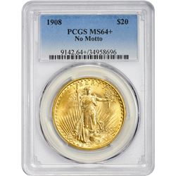 Choice Mint State + 1908 $20 No Motto  1908 Double Eagle No Motto. MS-64+ PCGS.