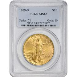 Choice Uncirculated 1909-S $20 1909-S Double Eagle MS-63 PCGS.