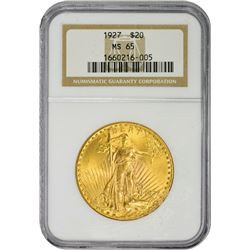 Gem Mint State 1927 $20 1927 Double Eagle MS-65 NGC.