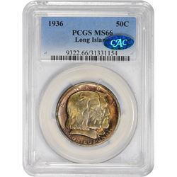 Colorful Gem Uncirculated 1936 Long Island 50¢ 1936 Long Island Half Dollar. MS-66 PCGS. CAC.