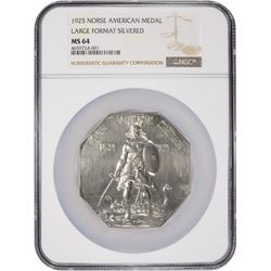 Famed 1825-1925 Norse-American Medal Large Silvered Format 1825-1925 Norse-American Medal. Large For