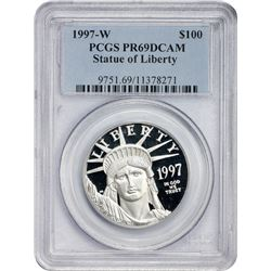 Gem DCAM Proof 1997-W One Ounce Platinum $100 1997-W Modern Statue of Liberty $100. One Ounce Platin