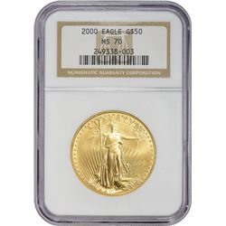 Perfect Uncirculated 2000 Gold $50 2000 $50 Gold American Eagle. 1 Ounce, .999 Fine. MS-70 NGC.