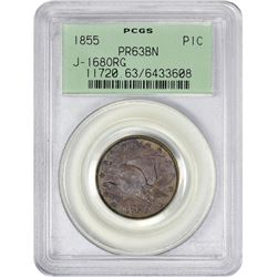 Famous 1855 Flying Eagle Pattern Cent 1855 Pattern Cent. Judd-168, Pollock-193. Original. Copper. Pl