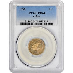 Popular 1858 Skinny Eagle Pattern 1¢ 1858 Pattern Cent. Judd-203, Pollock-247. Flying Eagle. Copper-