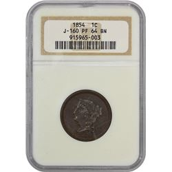 Proof Pattern 1854 Large Cent 1854 Pattern Cent. Judd-160, Pollock-187. Copper. Plain Edge. Rarity-4