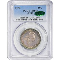 Gem Proof Beautifully Toned 1870 Pattern Half Dollar. Judd-940, Pollock-1053. Proof-66+ PCGS. CAC