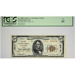 Luling, Texas. FNB. 1929 $5 Ty. 2. Fr. 1800-2. Charter 13919. PCGS New 61.