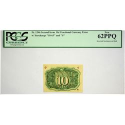 Fr. 1246. 10 Cents. Second Issue. PCGS New 62 PPQ. Inverted Surcharge.