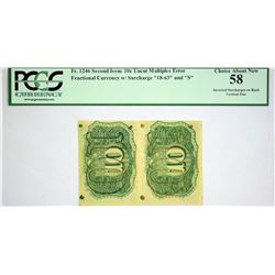 Fr. 1246. 10 Cents. Second Issue. PCGS Choice About New 58. Inverted Surcharges, Strip of Two.