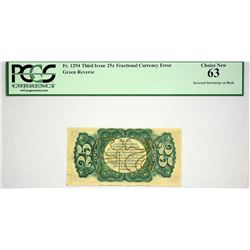 Fr. 1294. 25 Cents. Third Issue. PCGS Choice New 63. Inverted Surcharge.