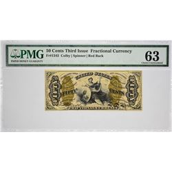 Fr. 1343. 50 Cents. Third Issue. Justice. PMG Choice Uncirculated 63.