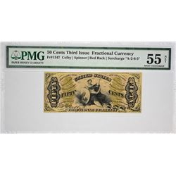 Fr. 1347. 50 Cents. Third Issue. Justice. PMG About Uncirculated 55 Net. Previously Mounted.