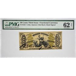 Fr. 1355. 50 Cents. Third Issue. Justice. PMG Uncirculated 62 Net. Previously Mounted, Ink Burn.