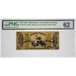 Fr. 1370. 50 Cents. Third Issue. Justice. PMG Uncirculated 62.