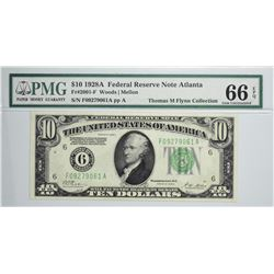 Fr. 2001-F. 1928A $10  Federal Reserve Note. Atlanta. PMG Gem Uncirculated 66 EPQ.