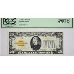 PCGS Superb Gem New 67 PPQ $20 Gold Certificate Fr. 2402. 1928 $20 Gold Certificate. PCGS Superb Gem