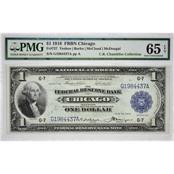 Fr. 727. 1918 $1 Federal Reserve Bank Note. Chicago. PMG Gem Uncirculated 65 EPQ.