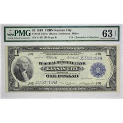 Fr. 738. 1918 $1 Federal Reserve Bank Note. Kansas City. PMG Choice Uncirculated 63 EPQ. From a know