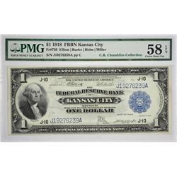 Fr. 739. 1918 $1 Federal Reserve Bank Note. Kansas City. PMG Choice About Uncirculated 58 EPQ. Very
