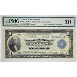 Fr. 741. 1918 $1 Federal Reserve Bank Note. Dallas. PMG Very Fine 30. A scarce Dallas variety with T