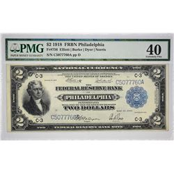 Fr. 756. 1918 $2 Federal Reserve Bank Note. Philadelphia. PMG Extremely Fine 40.