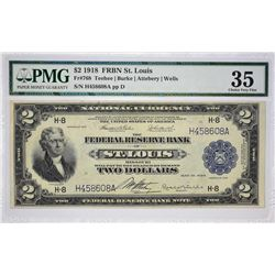 Fr. 768. 1918 $2 Federal Reserve Bank Note. St. Louis. PMG Choice Very Fine 35.