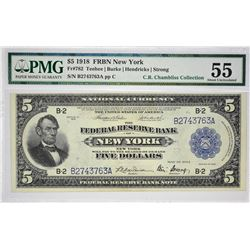 Fr. 782. 1918 $5 Federal Reserve Bank Note. New York. PMG About Uncirculated 55.