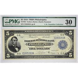 Fr. 783.1918 $5 Federal Reserve Bank Note. Philadelphia. PMG Very Fine 30.