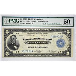 Fr. 787. 1918 $5 Federal Reserve Bank Note. Cleveland. PMG About Uncirculated 50.