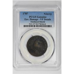 1787 Njersy Genuine Outlined Shield. VF Details PCGS